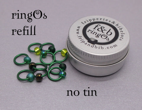 ringOs REFILL ~ Evergreen ~ Snag Free Ring Stitch Markers for Knitting