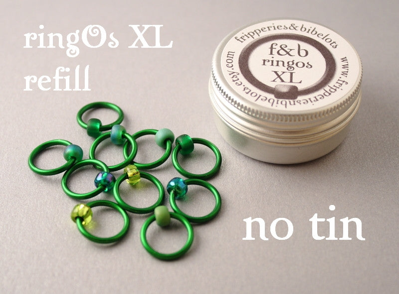 ringOs XL REFILL - Evergreen - Snag-Free Ring Stitch Markers for Knitting