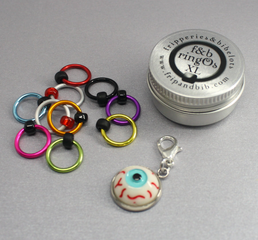 ringOs XL Eyeballs ~ HALLOWEEN LIMITED EDITION Snag Free Ring Stitch Markers for Knitting