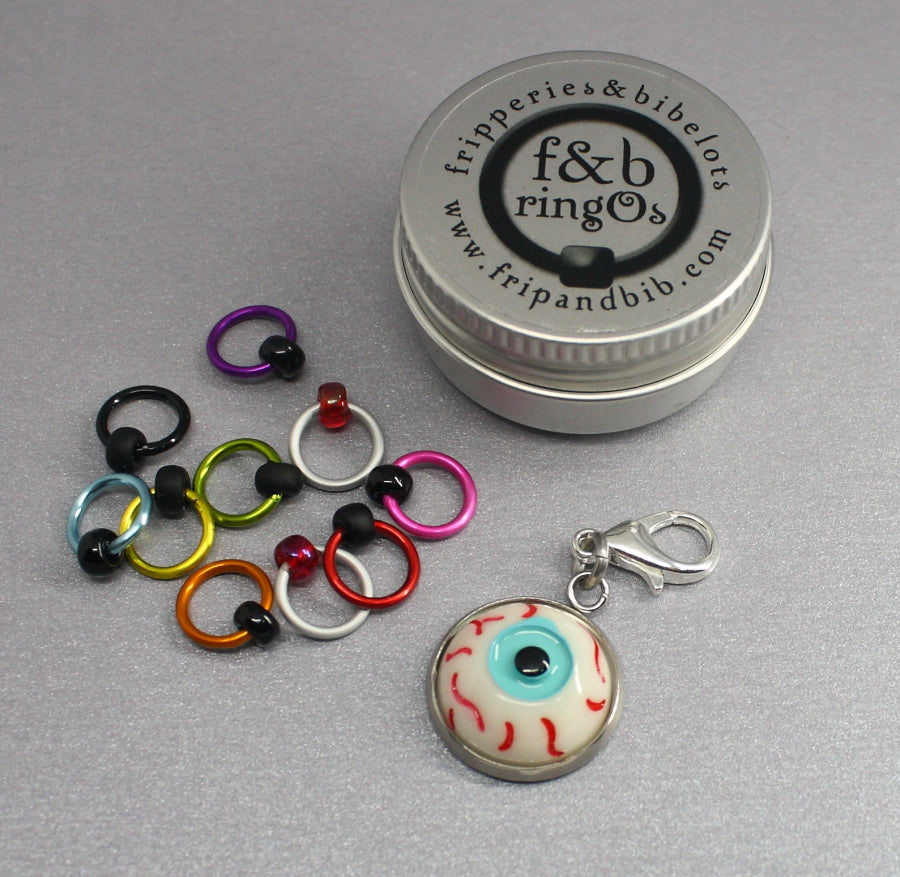 ringOs Eyeballs ~ HALLOWEEN LIMITED EDITION ~ Snag Free Ring Stitch Markers for Knitting