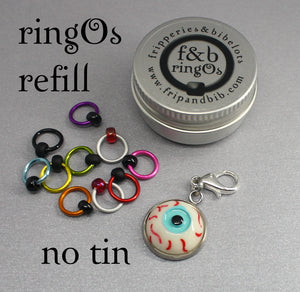 ringOs REFILL ~ Eyeballs ~ HALLOWEEN LIMITED EDITION ~ Snag Free Ring Stitch Markers for Knitting