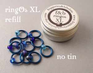ringOs XL REFILL - Favourite Jeans - Snag-Free Ring Stitch Markers for Knitting