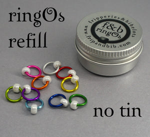 ringOs REFILL ~ Fiesta ~ Snag Free Ring Stitch Markers for Knitting