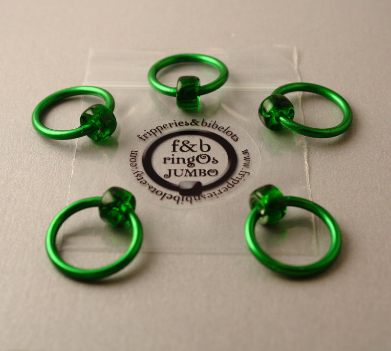 ringOs JUMBO Green - Snag-Free Ring Stitch Markers for Knitting