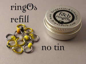 ringOs REFILL ~ Grellow ~ Snag Free Ring Stitch Markers for Knitting