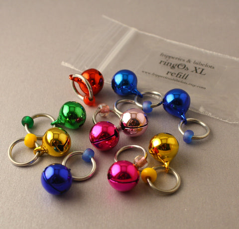 Christmas ringOs XL REFILL ~ JingOs ~ Limited Edition Snag Free Ring Stitch Markers for Knitting