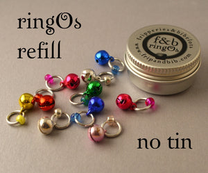 Christmas ringOs REFILL ~ JingOs ~ Limited Edition Snag Free Ring Stitch Markers for Knitting