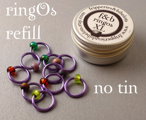 ringOs XL REFILL - Lavender Garden - Snag-Free Ring Stitch Markers for Knitting