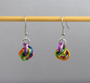 Rainbow Moebius Knot Balls of Wool Earrings