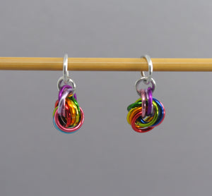 Rainbow Moebius Knot Balls of Wool Stitch Markers for Knitting & Crochet