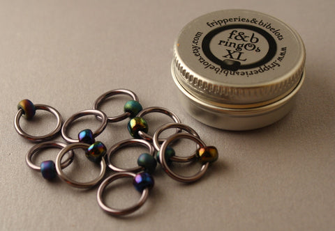 ringOs XL Oil Slick - Snag-Free Ring Stitch Markers for Knitting