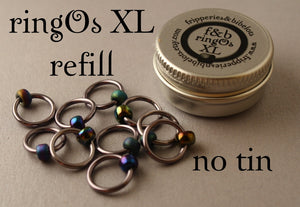 ringOs XL REFILL - Oil Slick - Snag-Free Ring Stitch Markers for Knitting