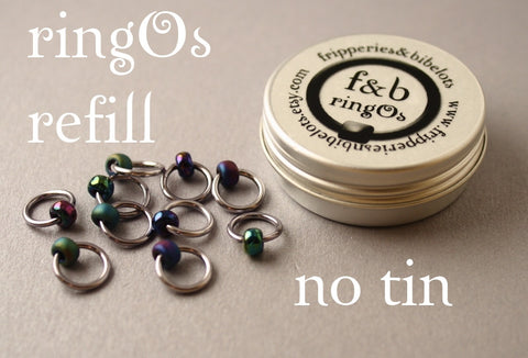 ringOs REFILL ~ Oil Slick ~ Snag Free Ring Stitch Markers for Knitting