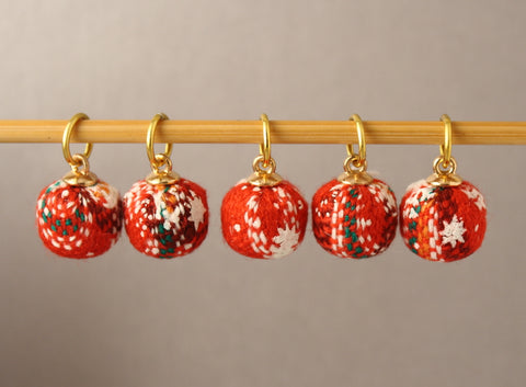Woolly Christmas Bauble Stitch Markers for Knitting