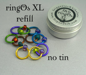 ringOs XL REFILL - Peacock - Snag-Free Ring Stitch Markers for Knitting