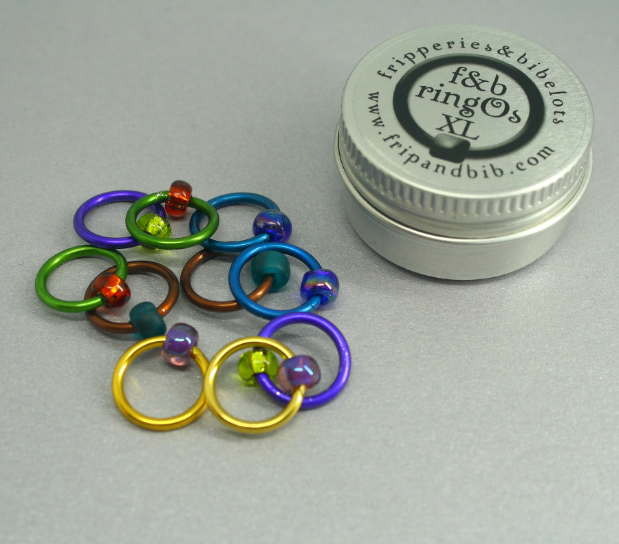ringOs XL Peacock - Snag-Free Ring Stitch Markers for Knitting