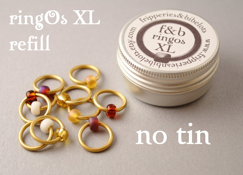 ringOs XL REFILL - Peanut Butter - Snag-Free Ring Stitch Markers for Knitting