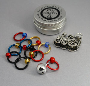 Christmas ringOs XL ~ The Polar Express ~ Limited Edition Snag Free Ring Stitch Markers for Knitting