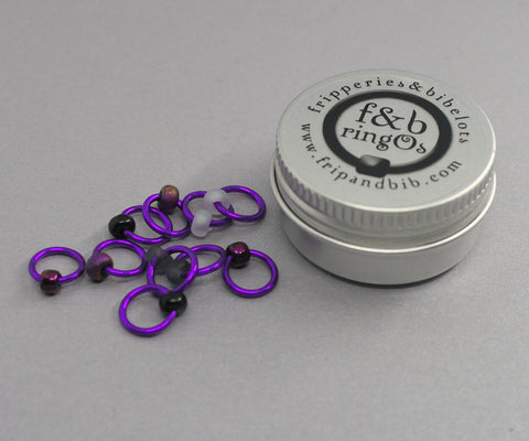 ringOs Purple Velvet ~ Snag Free Ring Stitch Markers for Knitting
