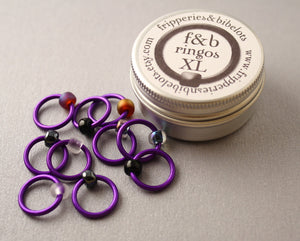 ringOs XL Purple Velvet - Snag-Free Ring Stitch Markers for Knitting