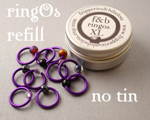 ringOs XL REFILL - Purple Velvet - Snag-Free Ring Stitch Markers for Knitting