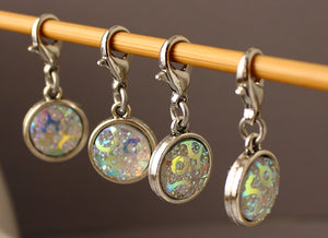 Rainbow Ice Crystal Stitch Markers for Crochet