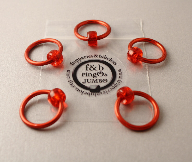 ringOs JUMBO Red - Snag-Free Ring Stitch Markers for Knitting