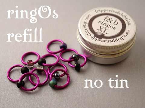 ringOs XL REFILL - Rock Chick - Snag-Free Ring Stitch Markers for Knitting