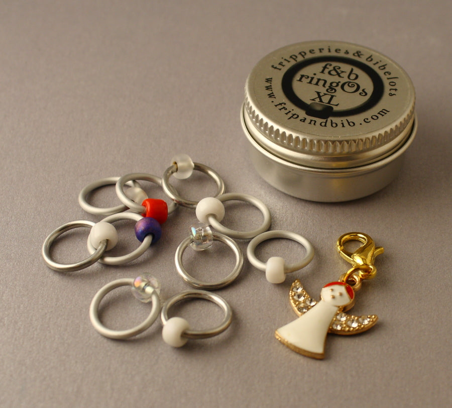 Christmas ringOs XL ~ Snow Angel ~ Limited Edition Snag Free Ring Stitch Markers for Knitting