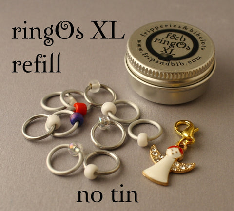 Christmas ringOs XL REFILL ~ Snow Angel ~ Limited Edition Snag Free Ring Stitch Markers for Knitting