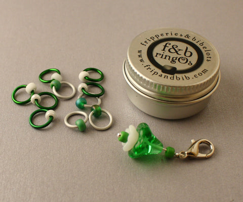 ringOs Snowdrops ~ LIMITED EDITION Snag Free Ring Stitch Markers for Knitting