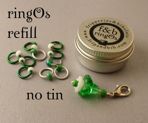 ringOs REFILL ~ Snowdrops ~ LIMITED EDITION Snag Free Ring Stitch Markers for Knitting