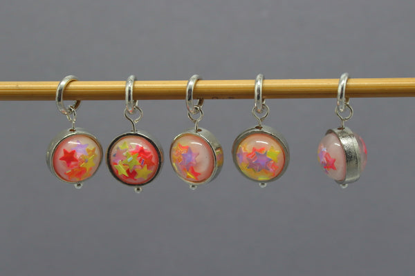 Sparkly Star Orb Stitch Markers for Knitting and Crochet