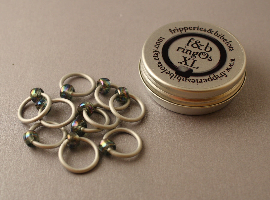 ringOs XL Stormy Weather - Snag-Free Ring Stitch Markers for Knitting