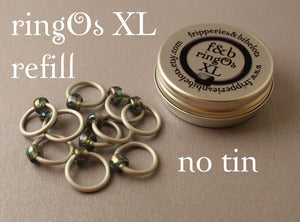 ringOs XL REFILL - Stormy Weather - Snag-Free Ring Stitch Markers for Knitting