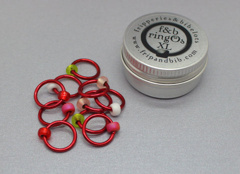 ringOs XL Strawberry Fields - Snag-Free Ring Stitch Markers for Knitting