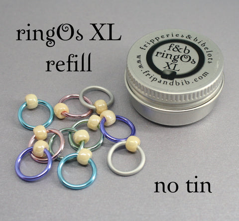 ringOs XL REFILL - Sugared Almonds - Snag-Free Ring Stitch Markers for Knitting