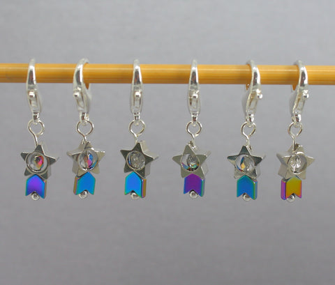 Tiny Shooting Stars Stitch Markers for Crochet