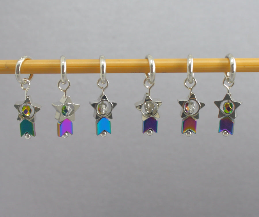 Tiny Shooting Stars Stitch Markers for Knitting