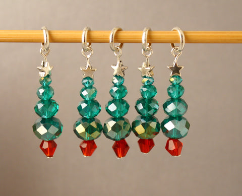 Crystal Christmas Tree Stitch Markers for Knitting