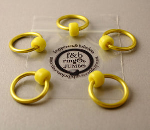 ringOs JUMBO Yellow - Snag-Free Ring Stitch Markers for Knitting