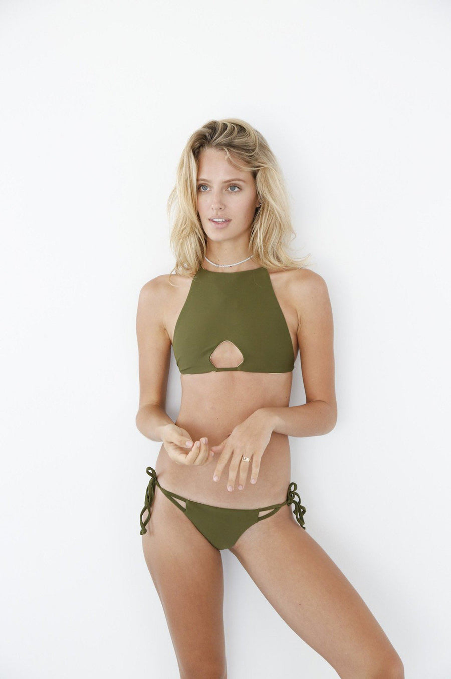 MAHINA SURFSIDE HALTER TOP - OLIVE