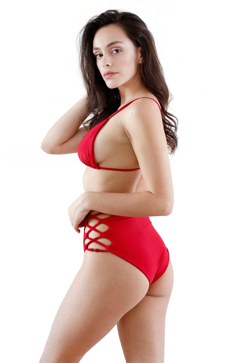 MAHINA EMILY HIGH-WAIST BOTTOM - ROJO