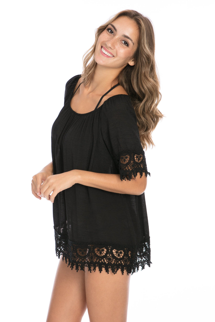 AQUAVITA - ANIKA OPEN SHOULDER PEASANT BLOUSE