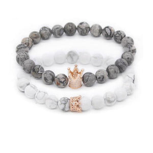 Bracelet distance King & Queen gris et blanc Rose Gold