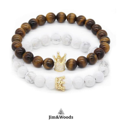Bracelet distance King & Queen tigre et blanc