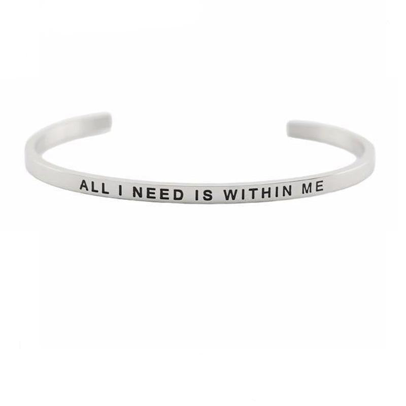 Bracelet Jonc Mantra ALL I NEED IS WITHIN ME
