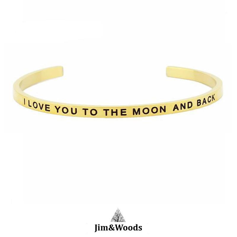 Bracelet Jonc Mantra DORE I LOVE YOU TO THE MOON AND BACK