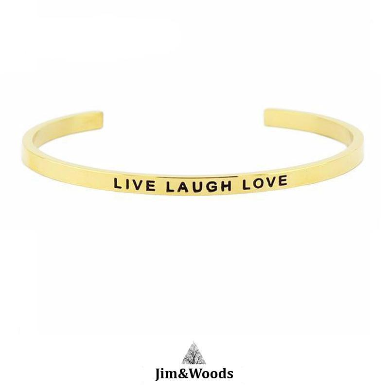 Bracelet Jonc Mantra DORE LIVE LAUGH LOVE