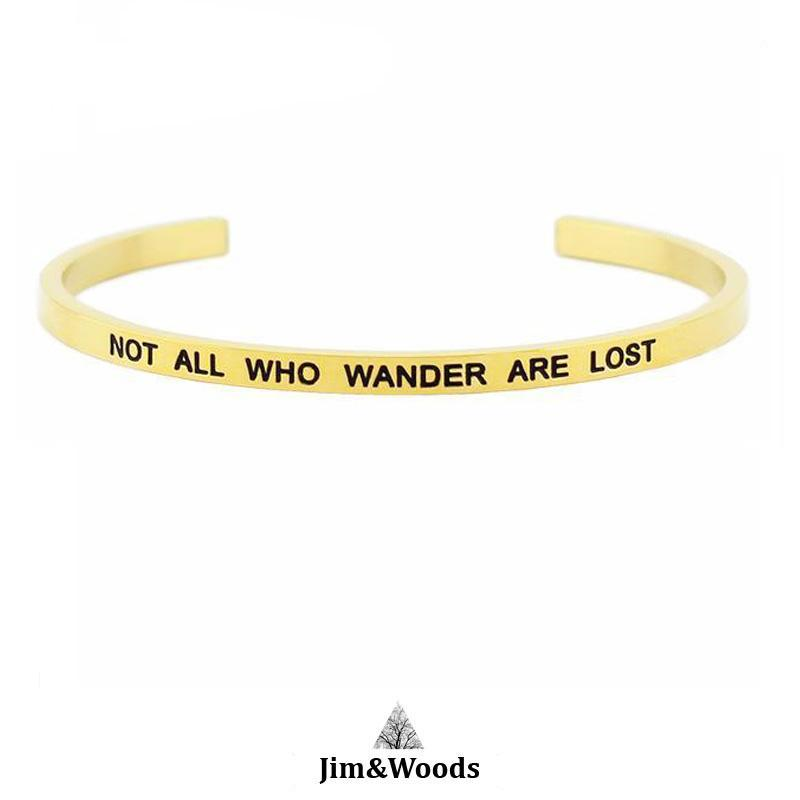 Bracelet Jonc Mantra DORE NOT ALL WHO WANDER ARE LOST